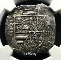 Very Raresilver Cob 4 Reales Philip II 1592/1 Valladolid Spain F Ngc Au50
