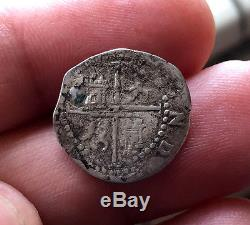 ¡¡ Very Scarce! Silver Cob 1/2 Real Of Philip Ii. Mint Lima. Assayer D