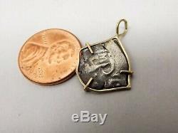 Vtg 14K Gold Antique Spanish Coin Pendant 1/2 Real Cob Silver Colonial Treasure